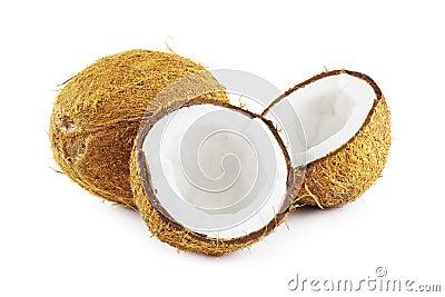 Noix de coco sur le blanc