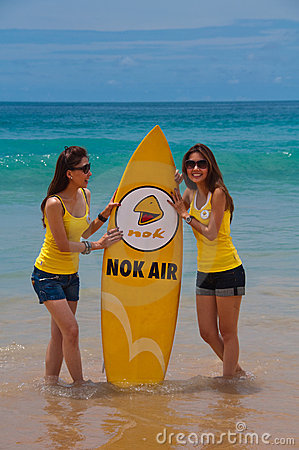 Nok Air Girls during quiksilver 2010 Editorial Stock Image