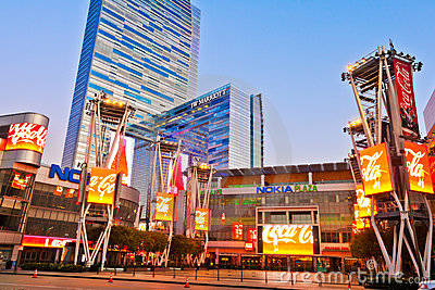 Nokia Plaza At LA Live In Downtown Los Angeles Editorial Stock Image