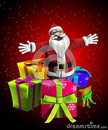 Noël de père avec des présents