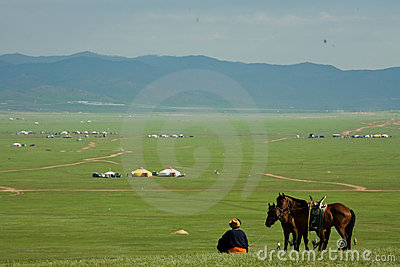 Nomad blue sky with horses