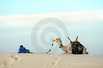 Nomad and camel on a sand dune