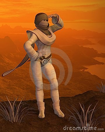 Nomad woman on a Desert Mountain