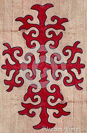 Nomad yurt detail - kyrgyz pattern on felt