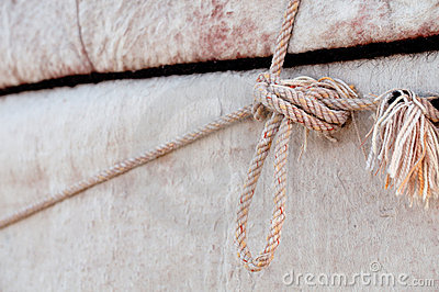 Nomad yurt detail - thick felt background and rope