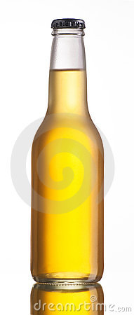 Non-glossy white beer bottle