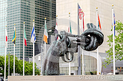 Non Violence Sculpture at UN Editorial Stock Photo