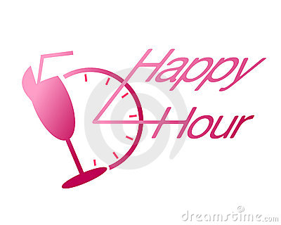 Ευτυχές ποτό ώρας στο διάνυσμα ράβδων