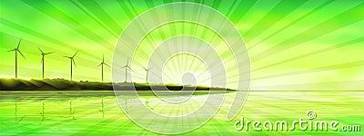在日落涡轮风的海岛海洋