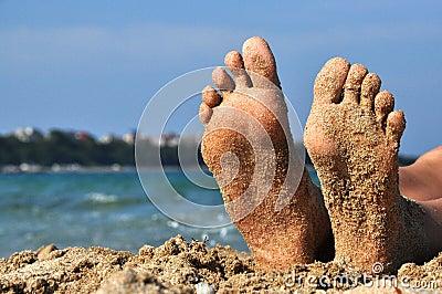 ноги песка