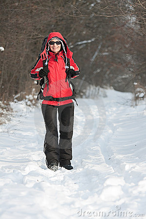 森林远足者冬天