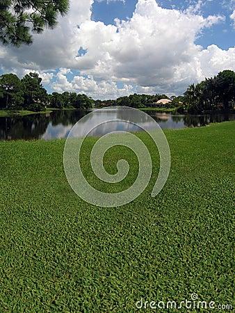 路线高尔夫球湖视图