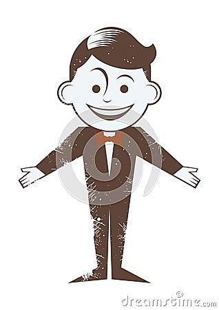 鞠躬动画片图画人红色减速火箭的微笑的关系.图片