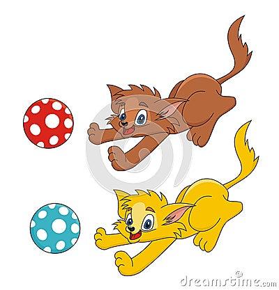 球演奏向量的动画片猫