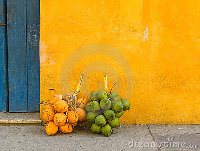 在卡塔赫钠,哥伦比亚街道的椰子