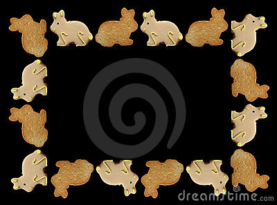 рамка пасхи печений зайчика