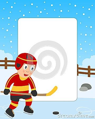 男孩框架曲棍球冰照片