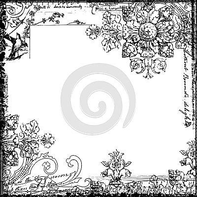 鸟装饰花卉框架样式葡萄酒