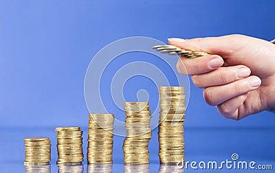 金黄的硬币提高