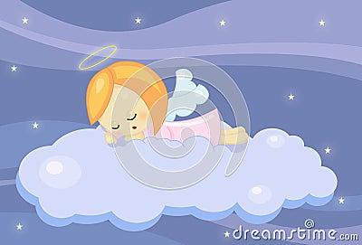 天使逗人喜爱的女孩休眠的一点