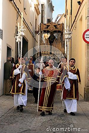 庆祝复活节赫雷斯游行西班牙 图库摄影片