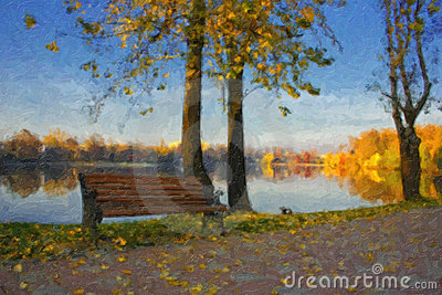 картина маслом озера осени
