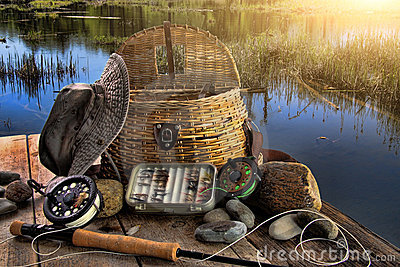 штанга мухы рыболовства после полудня последняя традиционная