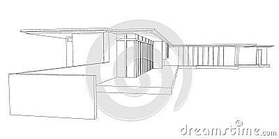 图画房子现代透视图