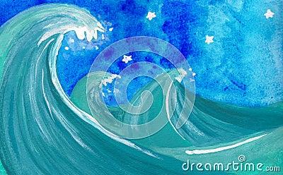晚上风大浪急的海面