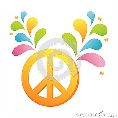五颜六色的和平飞溅