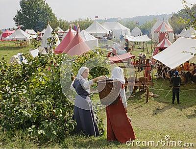 лагерь средневековый Редакционное Изображение