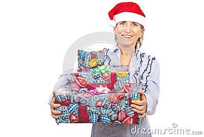 变老的圣诞节藏品笑的存在妇女