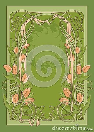 тюльпаны шаблона плаката стиля Арт Деко