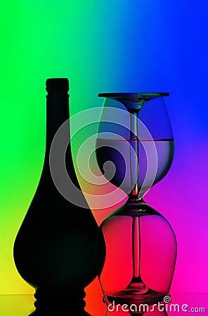 κρασί γυαλιών μπουκαλιών