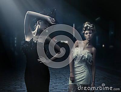 ύφος δύο γυναικείων φωτο