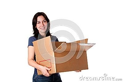 φέρνοντας κινούμενη ανοικτή γυναίκα αποθήκευσης κιβωτίων