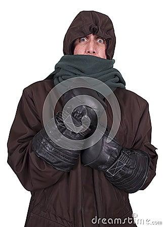 冬天的捆绑的外套冷冻结的人