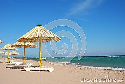 海滩五颜六色的伞