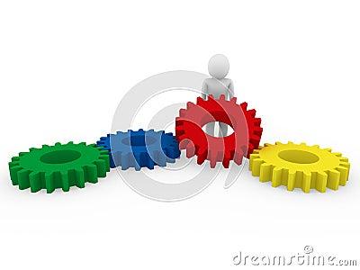τρισδιάστατο ανθρώπινο πράσινο μπλε κίτρινο κόκκινο εργαλείων