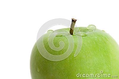 湿苹果的特写镜头
