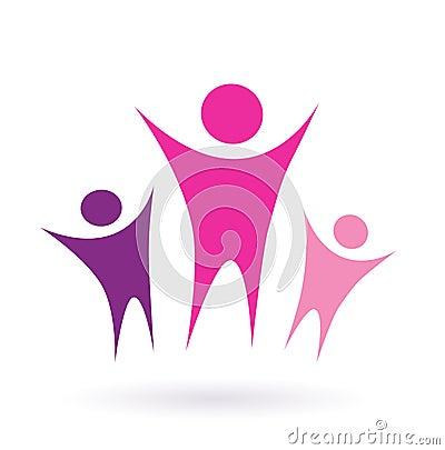 社区团体图标粉红色妇女