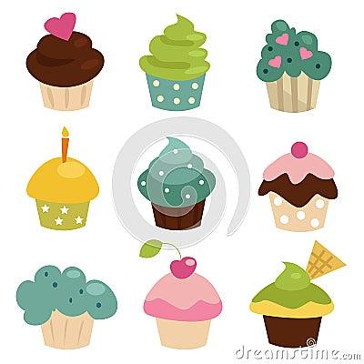 五颜六色的杯形蛋糕集