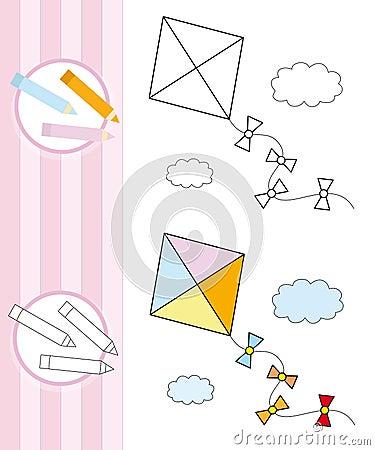书着色飞行风筝草图