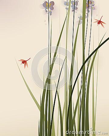 东方样式绘画、高草和花
