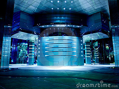 蓝色大厅现代办公室色彩