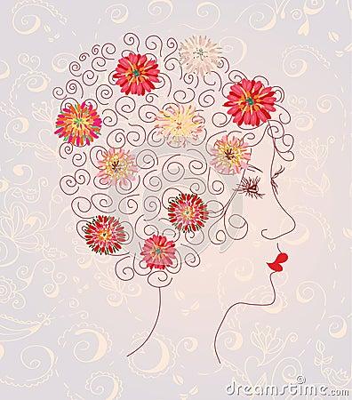 美丽的花卉顶头模式妇女