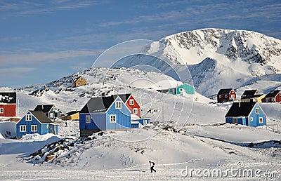 格陵兰远程村庄冬天
