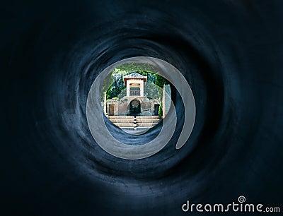 神秘的东方宫殿超现实对隧道
