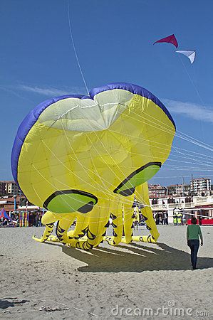 海滩大蓝色风筝天空黄色