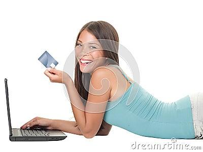 女孩互联网膝上型计算机购物